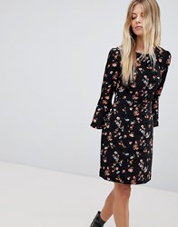 Oasis Floral Printed Fluted Sleeve Midi Dress Multi Black