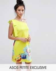 Asos Petite Occasion One Shoulder Mini Dress In Placement Floral Print Lime Green