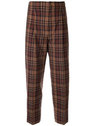 Le Ciel Bleu High Waisted Plaid Trousers Brown