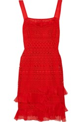Oscar De La Renta Silk Organza Trimmed Cotton Blend Guipure Lace Dress Tomato Red