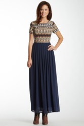 Lucca Couture Tribal Print Pleated Maxi Dress Blue
