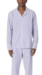 Sleepy Jones Bengal Stripe Pajama Top Blue White