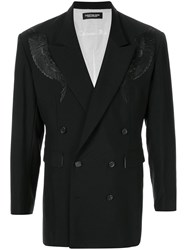 Christian Dada Feather Embroidery Double Breasted Jacket Black