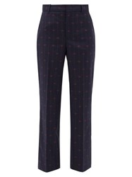 Gucci Gg Jacquard Wool Straight Leg Trousers Blue Multi