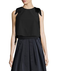 Derek Lam Sleeveless Fringe Crop Top Black