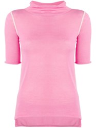 Joseph Short Sleeved Knitted Top Pink
