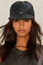 The Show Must Go On Sequin Baseball Cap Black