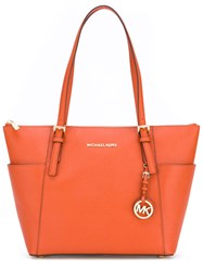 Michael Michael Kors Zipped Jet Set Tote Women Leather One Size Yellow Orange