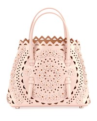 Alaia Mina Small Vienne Flower Lux Tote Bag Blue