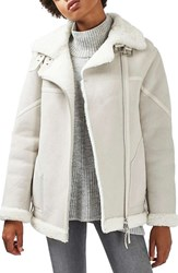 Topshop Women's Bailey Genuine Sheepskin Biker Jacket