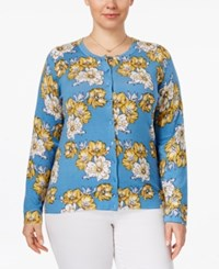 Charter Club Plus Size Floral Cardigan Only At Macy's Deepest Navy Combo