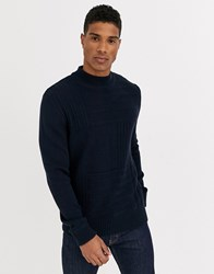 Jack And Jones Premium Chunky Crew Neck Knitted Jumper In Navy