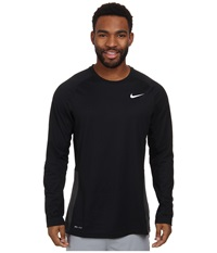 Nike Crossover L S Top Black Black Anthracite White Men's Long Sleeve Pullover