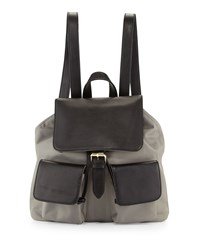 Neiman Marcus Fallon Nylon Leather Trim Backpack Gray