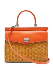 Rodo Leather And Wicker Top Handle Bag Orange