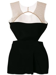 Rick Owens Cut Out Detail Sleeveless Top Acetate Viscose Black