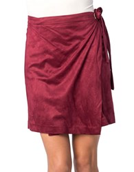 Kensie Faux Suede Wrap Skirt Red
