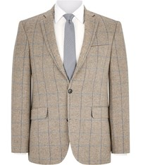 Austin Reed Beige Over Check Wool Jacket