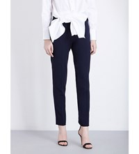Victoria Beckham Slim Fit Tapered Wool Trousers Navy