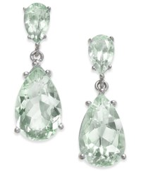 Macy's Semi Precious Gemstone Teardrop Drop Earrings 7 Ct. T.W. In Sterling Silver Available In Smoky Topaz Green Amethyst Citrine Blue Topaz And Mystic Topaz