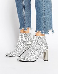Sol Sana Alicia Polka Dot Snake Print Leather Heeled Ankle Boots Polka Dot Snake White
