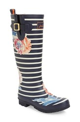 Joules Women's 'Welly' Print Rain Boot Rose Stripe
