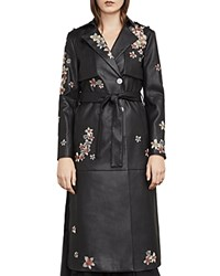 Bcbgmaxazria Alix Embroidered Faux Leather Trench Coat Black