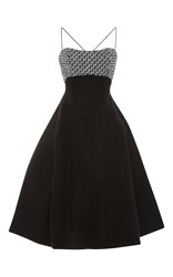 Elizabeth Kennedy Geometric Embroidered Tie Up Detail Tea Length Cocktail Dress Black Silver