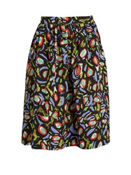 Duro Olowu Abstract Bird Print Cloque Skirt Black Multi