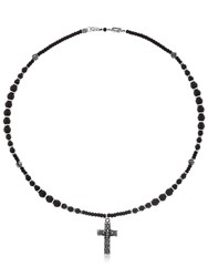 Cantini Mc Firenze Cross Beaded Necklace Black