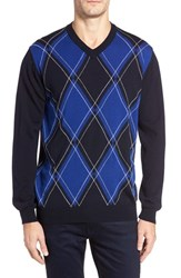 Bugatchi Men's Argyle Wool Sweater Night Blue