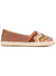 Le Silla Embellished Toe Espadrilles Women Raffia Leather Rubber 39 Brown