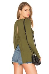 Bobi Light Weight Jersey Open Back Long Sleeve Top Green