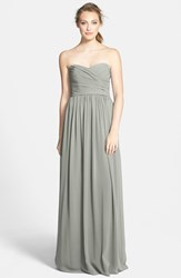 Women's Monique Lhuillier Bridesmaids Strapless Ruched Chiffon Sweetheart Gown Slate