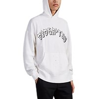 Ovadia And Sons Logo Print Cotton Oversized Hoodie Light Gray