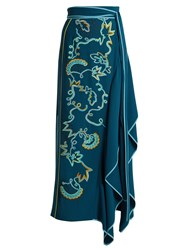 Peter Pilotto Embroidered Asymmetric Crepe Cady Skirt Blue Multi