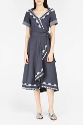 Peter Pilotto Women S Embroidered Trim Wraparound Dress Boutique1 Navy