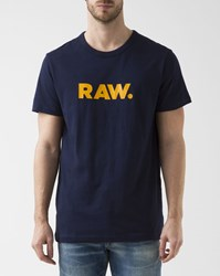 G Star Navy Blue Holorn Crew Neck T Shirt With Logo