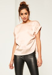Missguided Nude Satin Elastic Cuff T Shirt