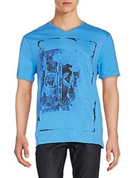 Calvin Klein Jeans Logo Graphic V Neck Tee Pacific Blue