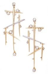 Alexis Bittar Women's Crystal Dangle Drop Earrings Silver