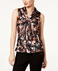 Nine West Printed Tie Neck Shell Copper Multi