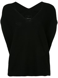 Aula Drop Shoulder Knitted Top Silk Cotton Rayon Black