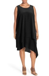 Plus Size Women's Eileen Fisher Layered Asymmetrical Silk Round Neck Knee Length Dress Black