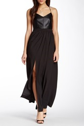 Gracia Faux Leather Bodice Chiffon Slit Front Maxi Dress Black
