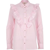 River Island Womens Pink Stripe V Frill Oversized Shirt