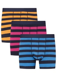 John Lewis Rugby Stripe Trunks Pack Of 3 Orange Pink Blue