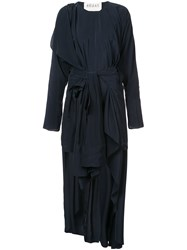 Awake A.W.A.K.E. Draped Dress With Kimono Shirt Belt Black