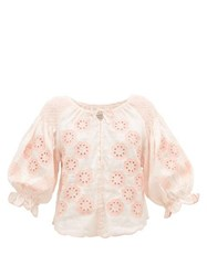 Innika Choo Oliver Daily Embroidered Linen Poplin Blouse Light Pink