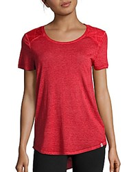 Andrew Marc New York Roundneck Short Sleeve Hi Lo Top Ruby Red